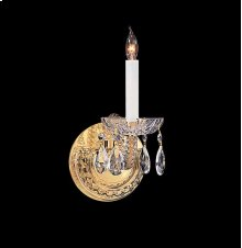 Traditional Crystal 1 Light Swarovski Strass Crystal Brass Sconce