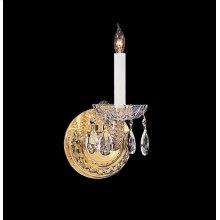 Traditional Crystal 1 Light Swarovski Strass Crystal Brass Sconce