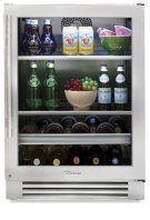 24 Inch Stainless Glass Door Beverage Center - Left Hinge Stainless Glass Product Image