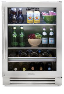 24 Inch Stainless Glass Door Beverage Center - Left Hinge Stainless Glass
