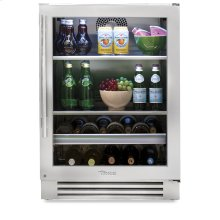24 Inch Stainless Glass Door Beverage Center - Right Hinge Stainless Glass