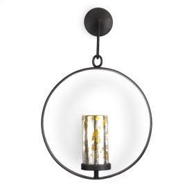 Oxidized Lime Green Circle wall Candleholder