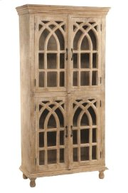 BENGAL MANOR LIGHT MANGO WOOD CATHEDRAL DESIGN 4 DOOR CABINET Product Image
