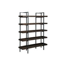 Metal & Wood Bookcase, Brown