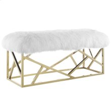Intersperse Sheepskin Bench in Gold White