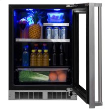 "24"" Beverage Refrigerator with Drawer - Stainless Frame, Glass Door With Lock - Integrated Right Hinge, Professional Handle"