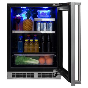 """Marvel24"""" Beverage Refrigerator with Drawer - Stainless Frame, Glass Door With Lock - Integrated Right Hinge, Professional Handle"""