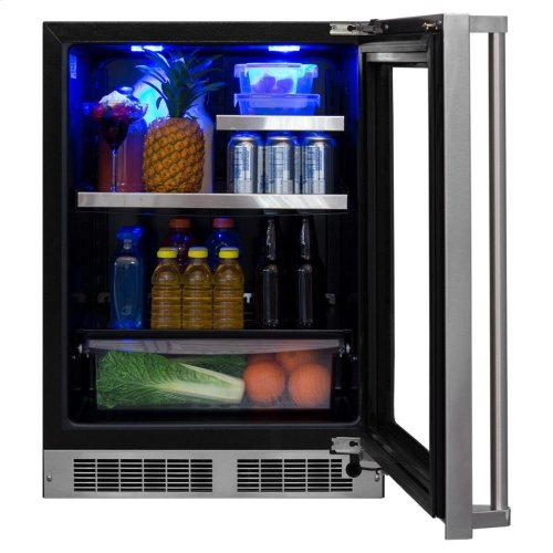 """24"""" Beverage Refrigerator with Drawer - Panel-Ready Framed Glass Door with Lock - Integrated Left Hinge (handle not included)*"""