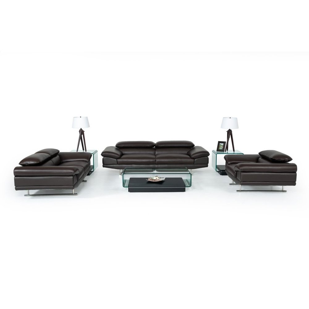 Divani Casa Hollis Modern Brown Leather Sofa Set