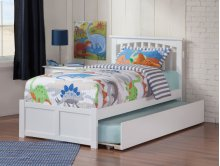 Mission Twin Flat Panel Foot Board with Urban Trundle White