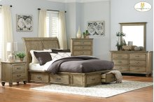 Queen Sleigh Platform Bed with Footboard and Rail Storage