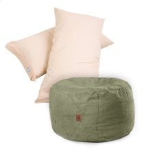 Pillow Pod Footstools - Chenille - Moss Green