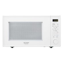 1.8 cu. ft. 1100W Sharp White Carousel Countertop Microwave Oven