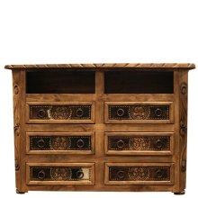 6 Drawer TV Dresser W/Cowhide & Star