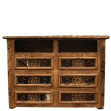 6 Drawer TV Dresser W/Cowhide & Star