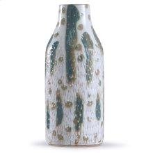 Romani Sage  18in x 7in Textured Green and White Glazed Ceramic Vase