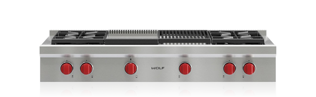 "Wolf48"" Sealed Burner Rangetop - 4 Burners, Infrared Charbroiler And Infrared Griddle"