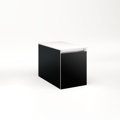 """Cartesian 12-1/8"""" X 15"""" X 21-3/4"""" Single Drawer Vanity In Black With Slow-close Full Drawer and No Night Light"""