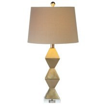 Champagne Silver Stacked Diamond Table Lamp. 60W Max.