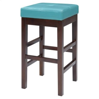 Valencia Backless Leather Counter Stool, Blue