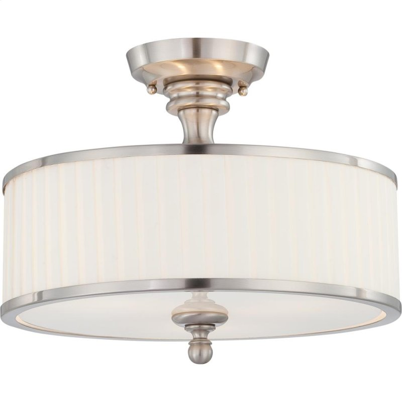 3 Lights Mini Semi Flush Mount Ceiling Light Fixture In Brushed Nickel Finish With White