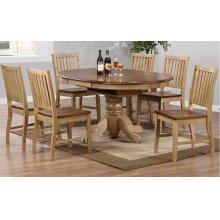DLU-BR4260-C60-PW7PC  7 Piece Round or Oval Butterfly Leaf Dining Set with Slat Back Chairs