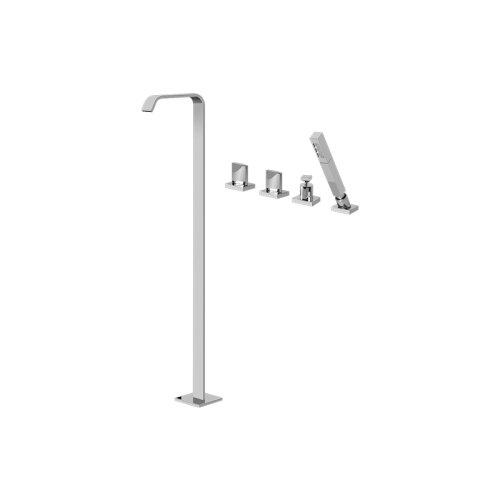 Targa Floor-Mounted Tub Filler w/Deck-Mounted Handshower & Diverter