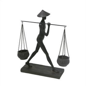 Man Balancing Baskets Sculpture