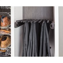 """Polished Chrome 18'' Pant Rack for 14"""" Deep Closet System. 9 Pant capacity. Mounted on 100lb Full-Extension slides and easily mounts with our Quick-Brac 32mm installation bracket."""