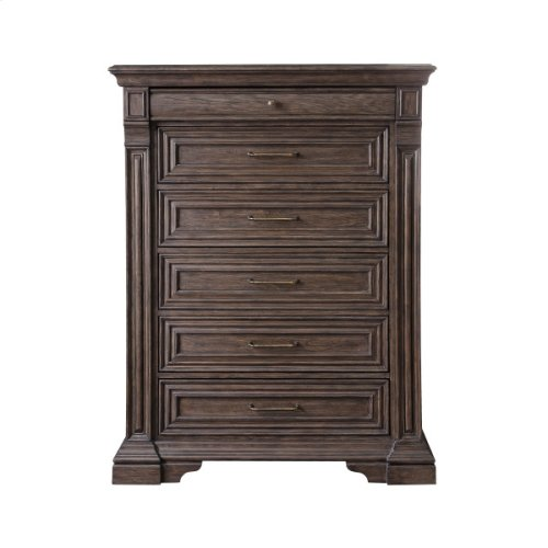 P142124  Bedford Heights 6 Drawer Chest in Estate Brown