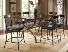 Cameron 7pc Counter Height Rectangle Wood Dining Set With X Back Stools