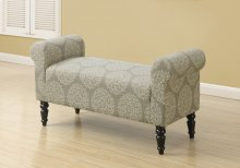 """BENCH - 44""""L / TRADITIONAL STYLE TAUPE SNOWFLAKE FABRIC"""