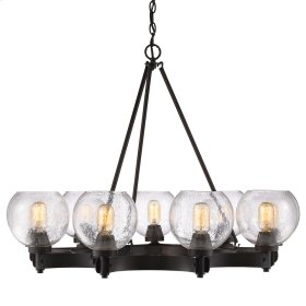 Galveston 9 Light Chandelier in Rubbed Bronze with Seeded Glass