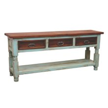 Turquoise/Walnut Bill 3 Drawer Console