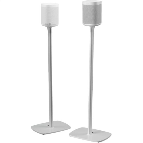 White- Pair of secure floor stands for home theatre surrounds.