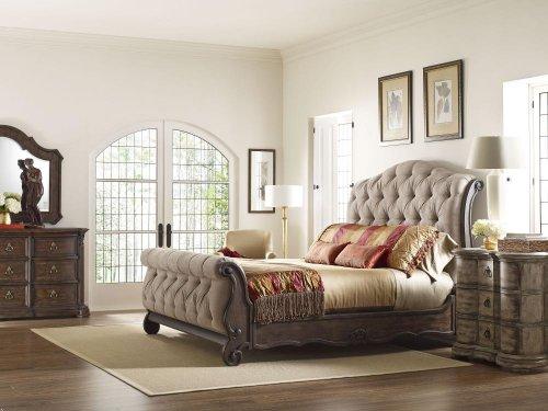 Casa Veneto Upholstered Sleigh Bed (King)