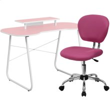 Pink Computer Desk with Monitor Platform and Mesh Chair