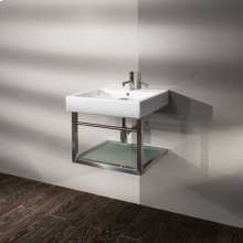 """Wall-mounted steel structure for 5030 washbasin with one wooden shelf and a towel bar, 21 1/4""""W, 17 5/8""""D, 13 3/4""""H"""