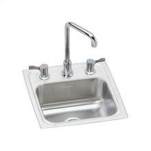 "Elkay Pacemaker Stainless Steel 15"" x 15"" x 6-1/8"", Single Bowl Drop-in Bar Sink + Faucet Kit"