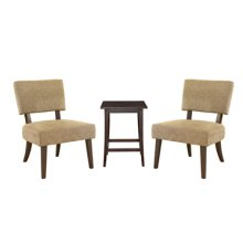 """3-Pc. Set - 2 Tan Accent Chairs & 1 """"Merlot"""" Square End Table"""