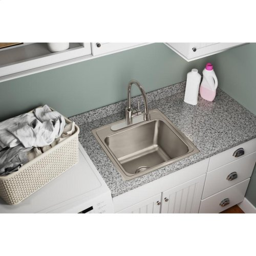 "Elkay Lustertone Classic Stainless Steel 19-1/2"" x 19"" x 10-1/8"", Single Bowl Drop-in Laundry Sink"