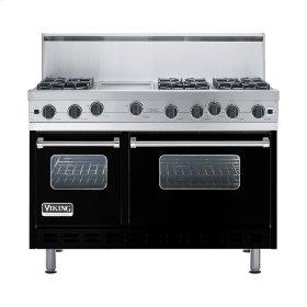 """Black 48"""" Open Burner Range - VGIC (48"""" wide, six burners 12"""" wide griddle/simmer plate)"""