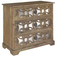 Bengal Manor Dark Mango Wood 3 Drawer Fretwork and Metal Chest