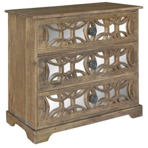 CRESTVIEW COLLECTIONSBengal Manor Dark Mango Wood 3 Drawer Fretwork and Metal Chest