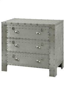 HOT BUY CLEARANCE!!! Industrial 3 Drawer Chest Of Aluminum And Chrome Rivet Details 34W 18D 32H
