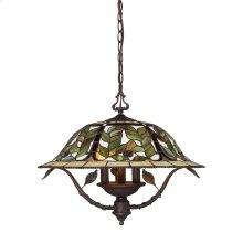 Latham 3-Light Chandelier in Tiffany Bronze with Tiffany Style Glass