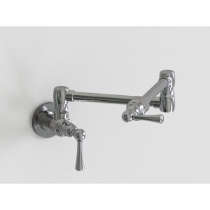 """Brushed Stainless - 17 3/4"""" Wall Mount Pot Filler with Metal Lever Product Image"""