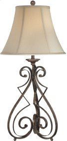 Table Lamp -rusted Wrought IRON/L.BGE Bell Shade,e27 Cfl 32w Product Image