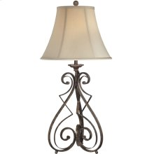 Table Lamp -rusted Wrought IRON/L.BGE Bell Shade,e27 Cfl 32w