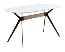Gather Table Complete-white MDF Top/black Metal Base 36x63x36h Rta